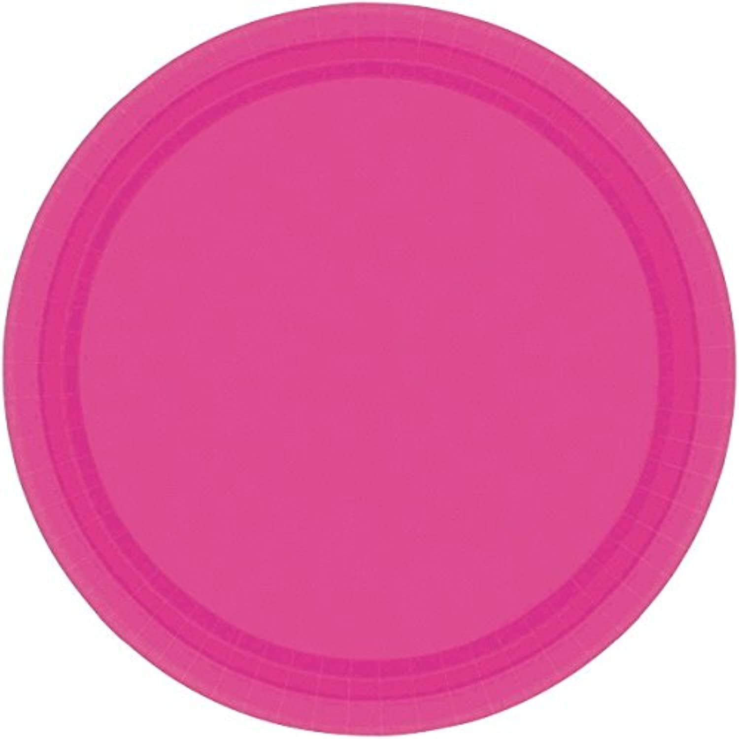 Amscan Disposable Round Party Luncheon Plates Tableware, Magenta, Paper , 9 , Pack of 20