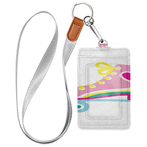 Clip ID Halter Karte Sport Rollschuh Schuhe Brieftasche ID Abzeichenhalter Mit 1 durchsichtigen Ausweisfenster, 2 Kartenschlitzen und einem abnehmbaren Halsriemen für Büroausweis, Schulausweis, Führe