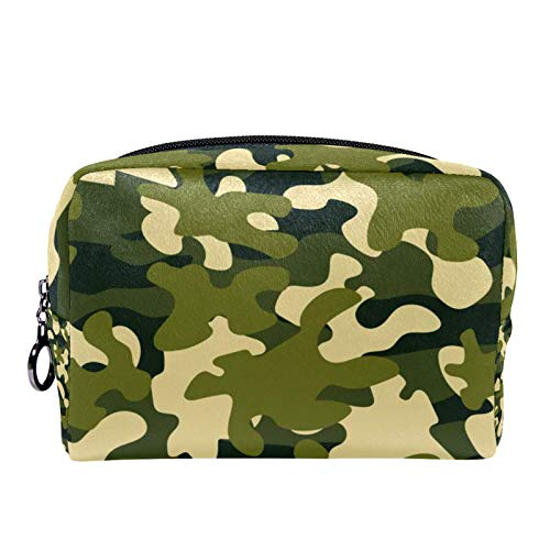 Cosmetic Bag Womens Makeup Bag for Travel to Carry Cosmetics Change Keys etc,Teal Camouflage