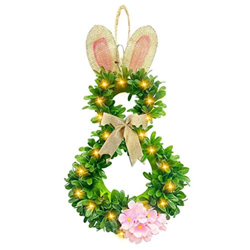 Rlevolexy wreath - Easter Bunny Wreath 40 LEDs Lighted Bunny Shaped Spring Wreath Easter Front Door Home Wall Hanging Decoration
