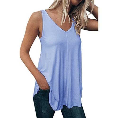 Oksea Damen Longtop Sommer Cool Lässiges ärmelloses Chiffon Tank Top mit Spitze Lässiges einfarbiges Top Damen Ärmelloses festes V-Ausschnitt Bluse Shirt Pullover Tops