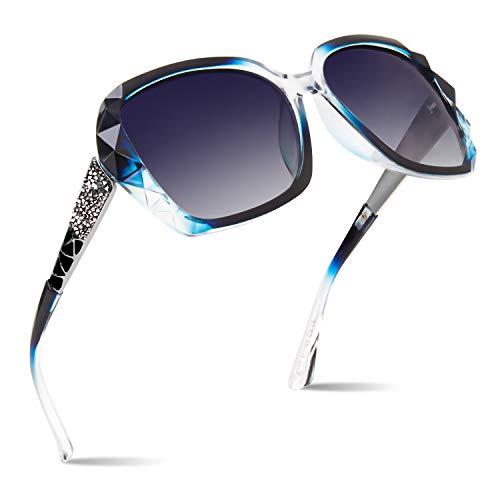 CGID Sonnenbrille polarisiert für Frauen Sonnenbrillen für Damen Oversized Polaroid Brille UV400 Schutz Dunkle Gläser 100% UV 400 Brille Klassisch mit Strasssteinen Diamantschnitt Blau Gestell