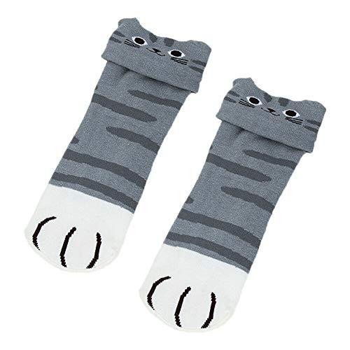 Coomir Socken, 1/3/5 Paar Katzenkrallensocken mit Cartoon-Motiv, japanischer Anime, Cosplay, gestrickte Socken 1 Pair Grau