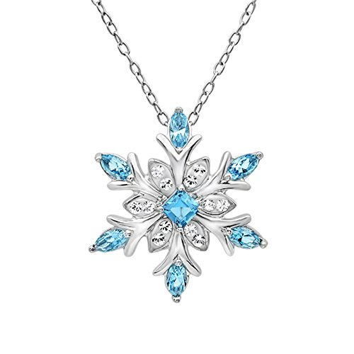 Sterling Silver Snowflake Pendant Necklace with SWAROVKSI Crystals (Blue and White)