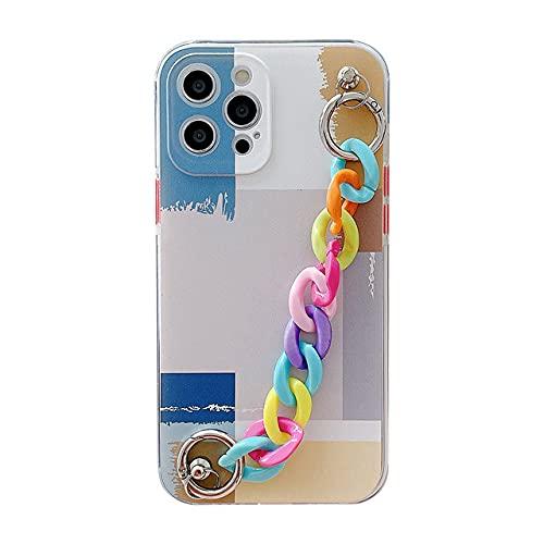 LIUYAWEI Colorful Art Graffiti Geometric Wristband Phone Case para iPhone 11 12 Mini Pro MAX XS MAX X XR 7 8 Plus Cute Chain Soft Case, 06, para iPhone X o XS