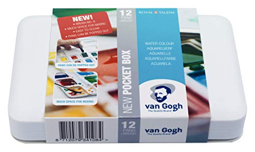 Van Gogh Watercolor Paint Set, Plastic Pocketbox, 12-Half Pan General Selection