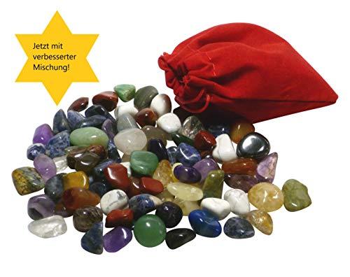 AMAHOFF Edelsteine (85-Stück) - Natursteine 10-15mm - Optimal für Kalaha, Hus oder Bao - Organza-Säckchen & Spielanleitung