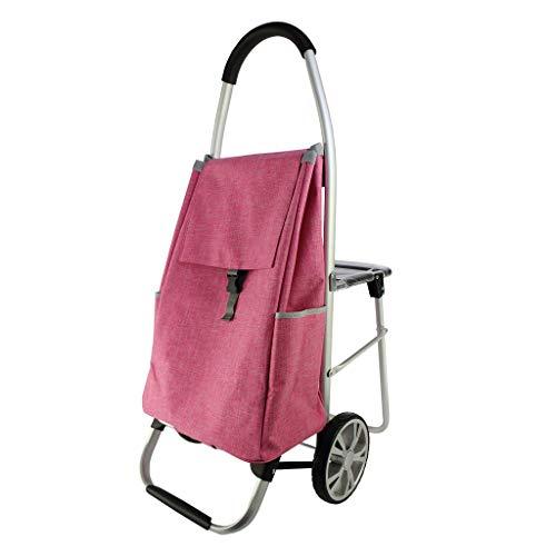 RSWLY Carretilla plegable portátil con capacidad de tela impermeable portátil aumentada (color: rosa, tamaño: 60 x 100 cm)