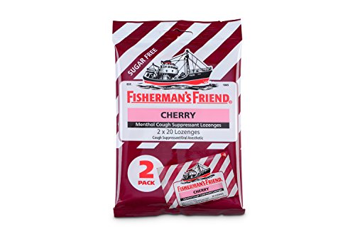 Cough Drops by Fisherman's Friend, Cough Suppressant and Sore Throat Lozenges, Cherry Sugar Free Menthol Flavor, 40 Count