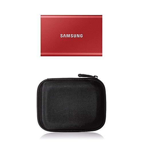 Samsung T7 Portable SSD - 500 GB - USB 3.2 Gen.2 Externe SSD Metallic Red (MU-PC500R/WW) + Amazon Basics Festplattentasche, schwarz