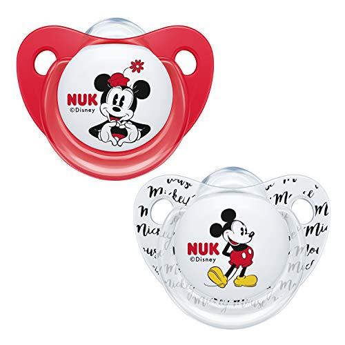 NUK Trendline chupetes | 6-18meses | Chupetes de silicona sin BPA | Disney Minnie Mouse (rojo) | 2unidades