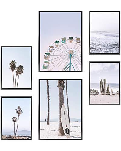 Heimlich® Premium Poster Set | OHNE Bilderrahmen | Stilvolles Set mit passenden Bilder als Wohnzimmer Deko | 2 x DIN A3 & 4 x DIN A4 - ca. 30x42 & 21x30 | » Pastell Surf Palmen «