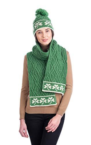 SAOL 100% Merino wol traditionele Ierse Shamrock Aran wollen sjaal voor dames, in natuurlijk/marine/groen