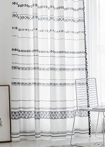 "EASEFORU Boho Curtains with Tassels Semi Blackout Window Drapes,Grommet Geometry Room Darkening Window Curtains for Bedroom Living Room,1 Panel,55""×84"""