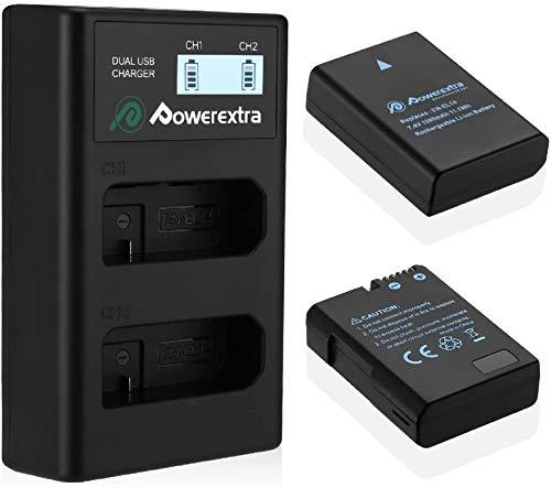Powerextra 2 x Batteria Sostitutiva Nikon EN-EL14/EN-EL14 Compatibile da 1500mAh e 1 doppio caricatore per D3100 D3200 D3300 D3400 D5100 D5200 D5300 D5500 D5600 Df P7000 P7100 P7700 P7800
