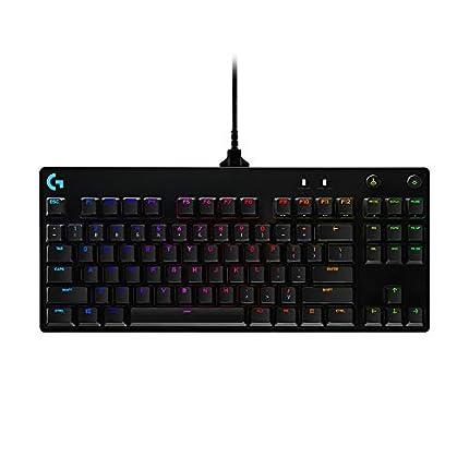 Logitech G Pro Teclado Gaming Mecánico, Diseño sin teclado numérico, Cable micro USB desmontable, Teclas iluminadas con 16,8 millones de colores, RGB Lightsync, US Internacional, Negro