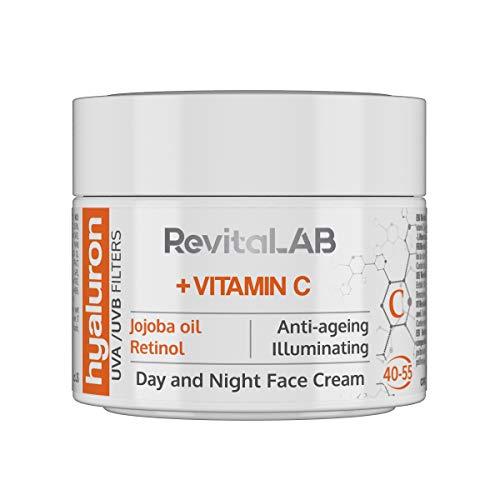 RevitaLAB - Crema antiarrugas de día y de noche con ácido hialurónico enriquecida con vitaminas A, B3, B5, E, C, aceite de jojoba y filtros UV, franja de edad 40-55, 50 ml