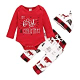 ZCM Baby Boy Girl Christmas Outfit 0-3 Months, My First Christmas Long Sleeve Romper+Animal Print Long Pants+Hat 3Pcs Fall Winter Outfits for Unisex Babies (My First Christmas-Red, 0-3 Months)