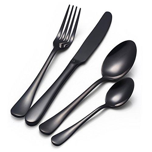 Couverts 4 pièces Noir acier inoxydable Vaisselle argenterie Ustensiles Cuisine Dessert Cuillères à dessert café Couteau Fourchette (Noir)