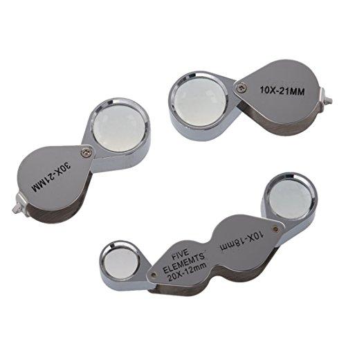 Lupa - TOOGOO(R)3tlg Conjunto de lupa del ojo de joyero 10x + 30x + Dual-lente de aumento -Lupa