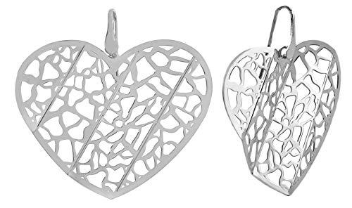 10:10 Pendientes Origami en Plata 925 °°° bañados en Oro de 18kt. Diseñado y producido en Italia… (Corazón blanco)