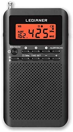 NOAA Weather AM FM Radio Portable Battery Operated by 2 AA Batteries with Stereo Earphone LCD product image