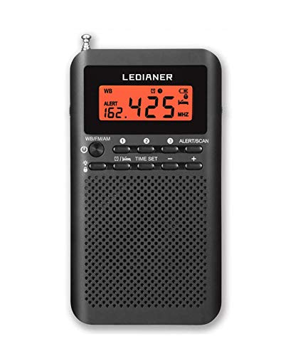 NOAA Weather AM FM Radio Portable Battery Operated by 2 AA Batteries with Stereo Earphone, LCD Display Digital Alarm Clock Sleep Timer,Best Reception,Built in Speaker Best Sound Quality(Black)