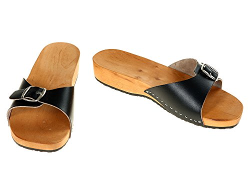 berlin-clogs - Herren Holzsandalen, Farbe: schwarz, Groesse: 43