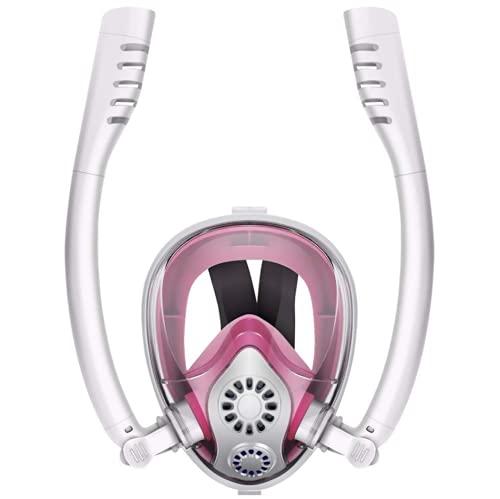 Máscara de esnórquel de cara completa, sistema de respiración de esnórquel doble Easy Breathe, vista panorámica de 180 ° Juego de esnórquel con parte superior seca, antivaho, juego de esnórquel,L/XL