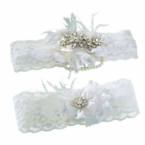 Ivy Lane Design Vintage Rhinestone Pearl Bridal Wedding Garter Set, Medium, Ivory