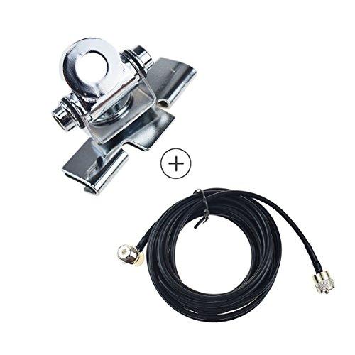 Soporte de Antena RB-400 + 5M Clip Mount Cable PL259 SO239 Conector para Walkie Talkie Móvil Radio Coche
