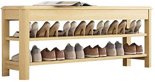 dh-8 Banco de Zapatos de Madera de Roble, Zapatero de 2 Niveles, para Entrada de Pasillo 4 Colores 3 (Color: # 2, Tamaño: 60 × 30 × 46cm)