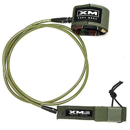 XM SURF MORE Surfboard Leash - Premium Surf Leash for Short Boards & Long Boards - Adjustable, Ultra-Strong Strap for Ankle Support - Regular Strength Cord  - USA Made