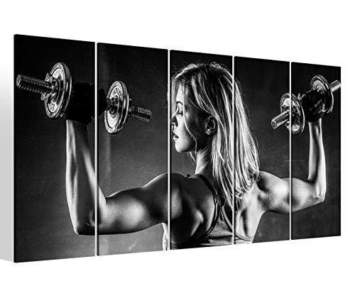 Leinwandbilder 5 teilig XXL 200x100cm schwarz weiß Frau Hanteln Fitness Muskeln Training Sport Druck auf Leinwand Bild 9BM2328
