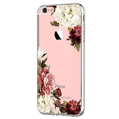 Kompatibel mit iPhone 6s/6 Hülle, iPhone 6S Schutzhülle Durchsichtig Silikon Silikonhülle Transparent TPU Bumper Schutz Handy Hülle Handytasche Handyhülle Schale Case Cover für iPhone 6 6S (Blume7)