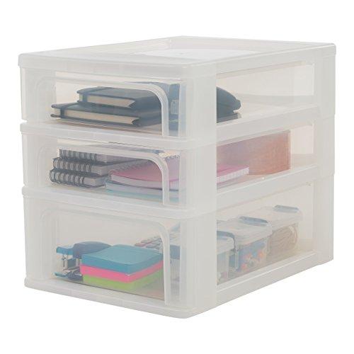 Iris Ohyama, Schubladenbox / Schubladencontainer - Organizer Chest OCH-2021 - plastik, frostweiß, 2 x 4L + 1 x 7L, L35,5 x B26 x H29,5 cm