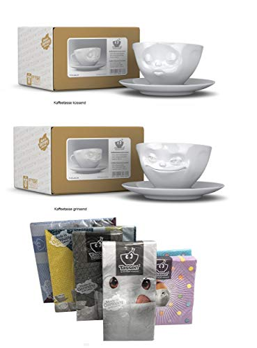 FIFTYEIGHT PRODUCTS Kaffeetassen 2er Set + Servietten, 200 ml, GRINSEND+KÜSSEND