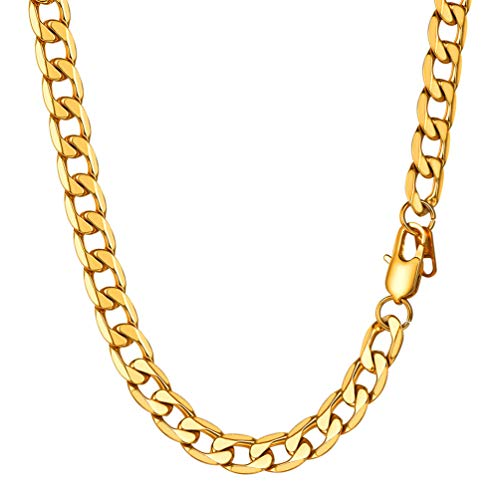 PROSTEEL 18K Gold Chain Necklace for Men Gift 20Inch Male Jewelry