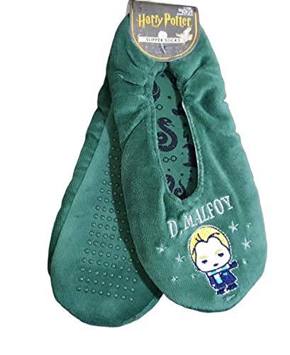 Sconosciuto Calzini da scarpe con Grippers di Harry Potter con licenza di Slytherin D.Malfoy Verde 36-38