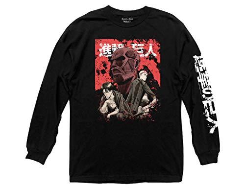 Ripple Junction Attack on Titan Adult Unisex Big Titan Kanji with Sleeve Hit Heavy Weight 100% Cotton Long Sleeve Crew T-Shirt 3XL Black