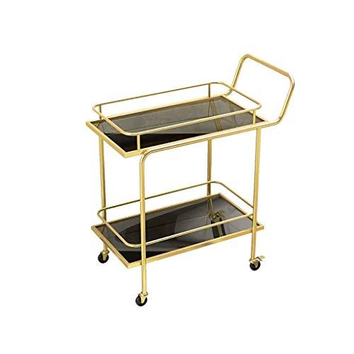 DSENIW QIDOFAN - Carro de cocina con 2 niveles y carrito de almacenamiento para el hogar, color dorado, 86 x 69 x 38 cm