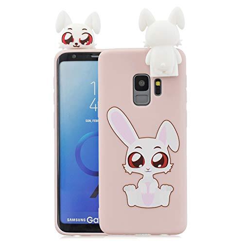 Nodigo Funda Compatible con Samsung Galaxy S9 Plus/S9+ Silicona 3D Animal Dibujos Motivo Creativo Ultrafina Carcasa Case Antigolpes TPU Bumper Kawaii Resistente Cover - Conejo