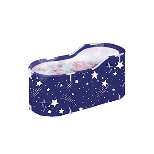 YLJJ Bañera Plegable portátil, bañera de inmersión ecológica para Adultos, Ideal para baño Caliente, baño de Hielo, 120 * 60 * 50 cm, Azul-1