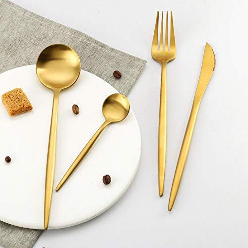 Miminuo Besteck Rostfrei,Portugiesisches Titan Gold Messer und Gabel 304 Edelstahl Steak Messer matt Western Food Geschirr 16 / 24pcs-24 Stück