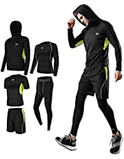 メンズ コンプレッションウェア セット トレーニングウェア 5点セット 通気防臭 スポーツウェア ランニングウェア パーカー 長袖シャツ 半袖シャツ ハーフパンツ タイツ 吸汗速乾