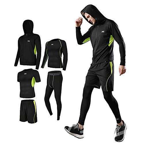 Men's Compression Wear Set, Training Wear, 5-Piece Set, Breathable, Odor Resistant, Sportswear, Running Wear, Hoodie, Long Sleeves, Short Sleeves, Half Pants, Tights, Sweat Absorbent, Quick Drying - #06-Green-5 Piece Set