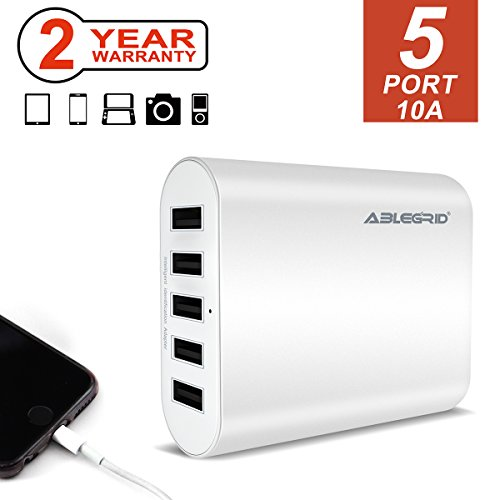 ABLEGRID USB Charging Station, Multi Quick Charger 5Port 10A Desktop Wall Charger Station Fast Charging for iPhone iPad iPod Samsung and More, White (P-05)