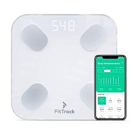 Báscula Inteligente FitTrack Dara Aprobada Por la FDA - Báscula de Baño Digital Bluetooth - Android & iOS - Báscula Grasa Corporal y Muscular - Monitor de Composición Corporal Con 17 Indicadores