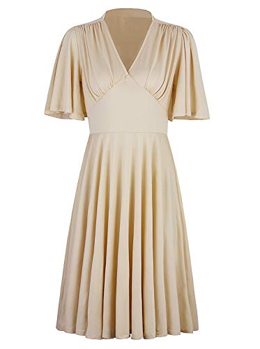 VIJIV Womens Vintage 1920s V Neck Rockabilly Swing Evening Party Cocktail Dress with Sleeves Roaring 20s Ivory Medium