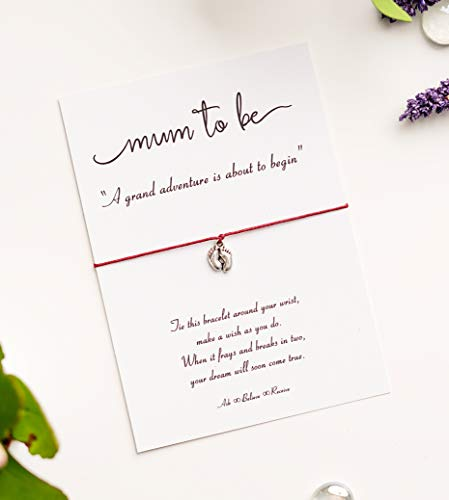 Mum to Be Wish String Bracelet with tibetan silver footprint charm